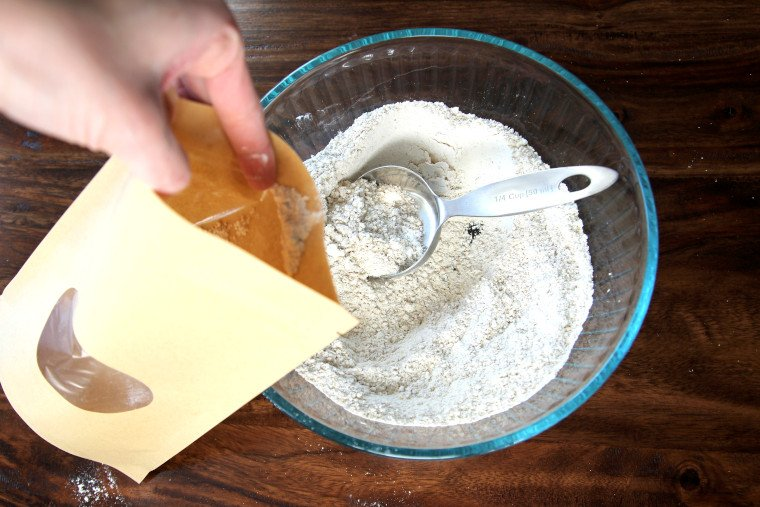 filling food bag with waffle mix
