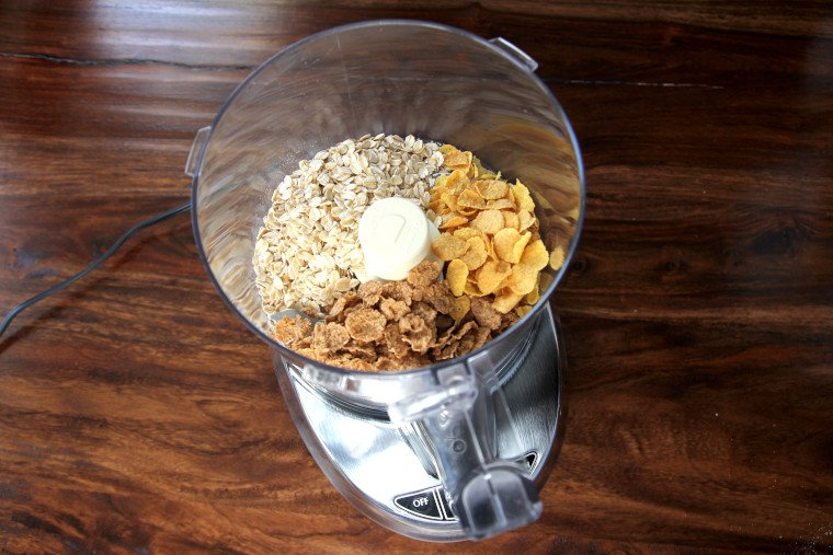 adding ingredients to food processor