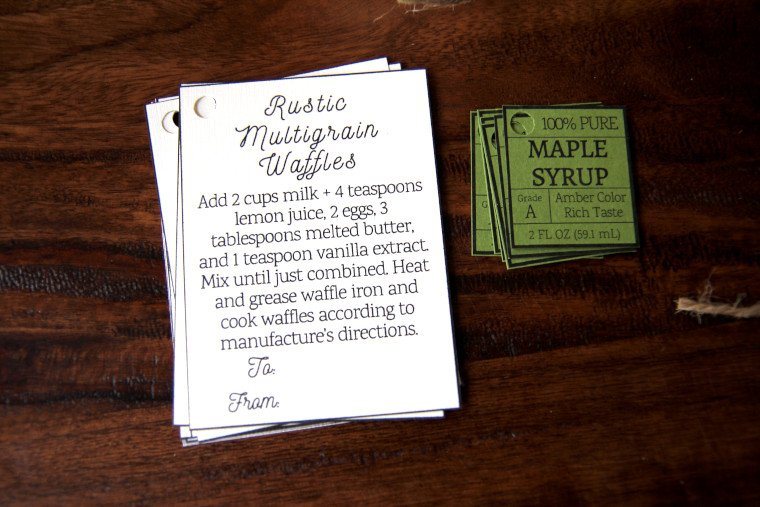 cut out instruction gift tags and maple syrup tags