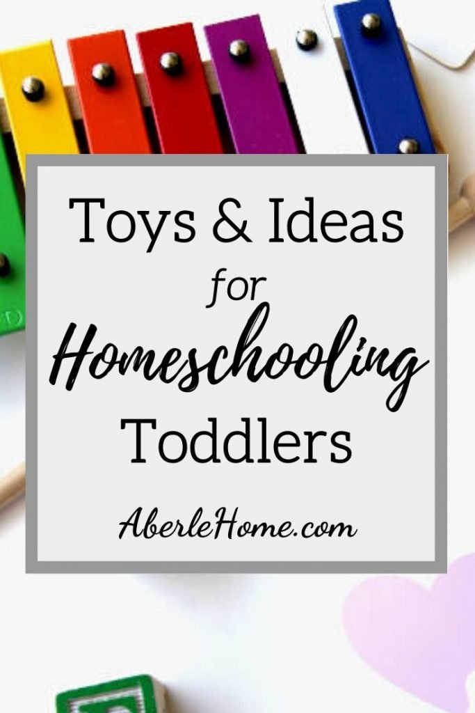 toys and ideas for homeschooling toddlers pin image