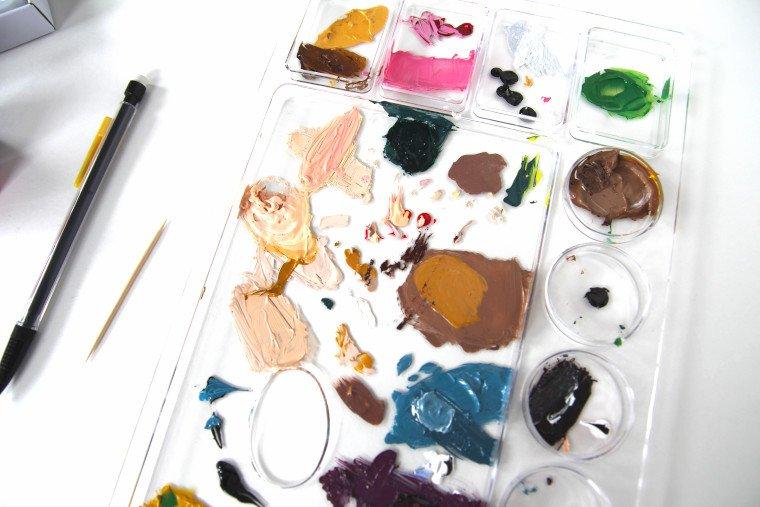 acrylic paints on an artist pallet