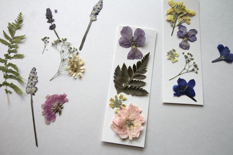 pressed flower bookmarks