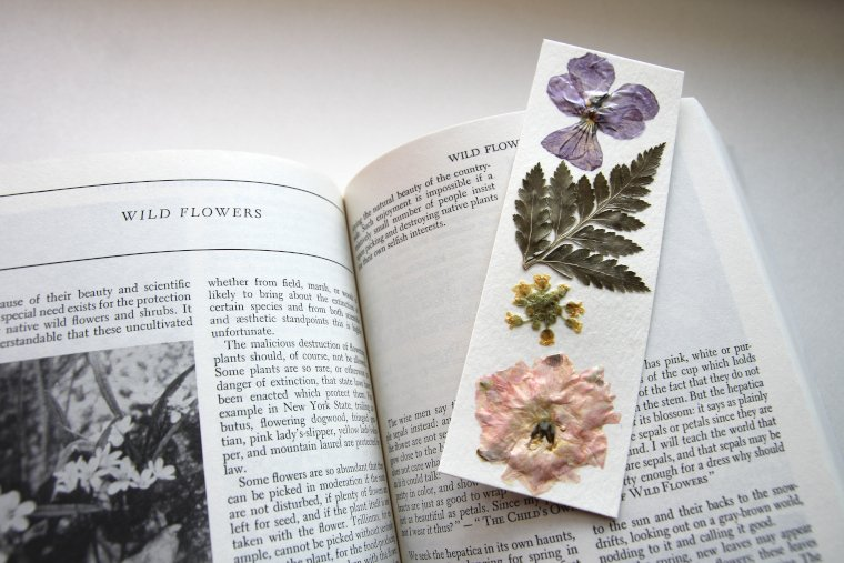 finished bookmark with book