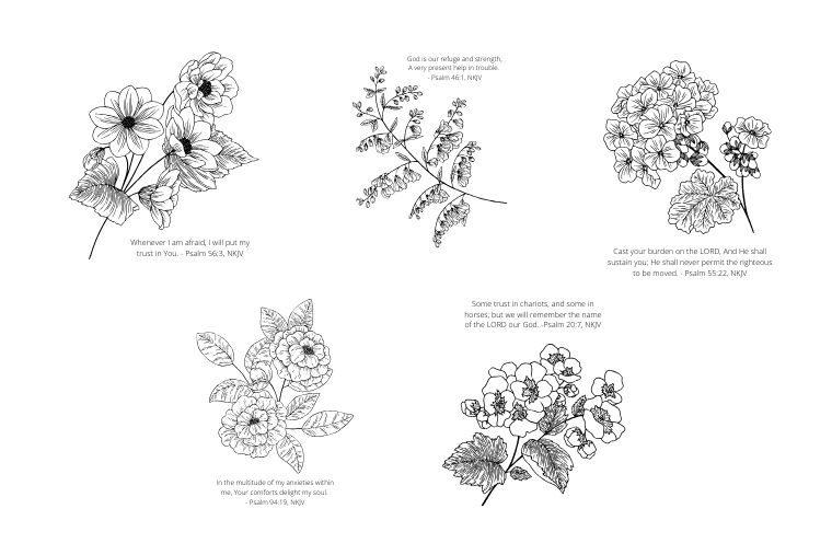 floral psalms coloring page bundle