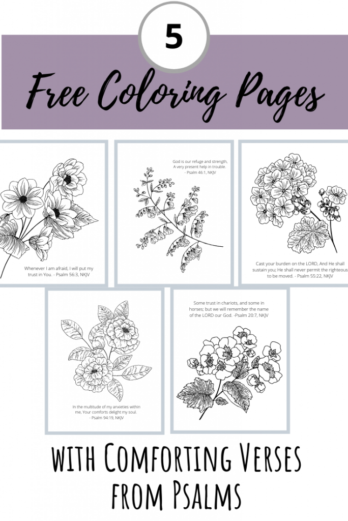 five free coloring pages with comforting verses from psalms pin image