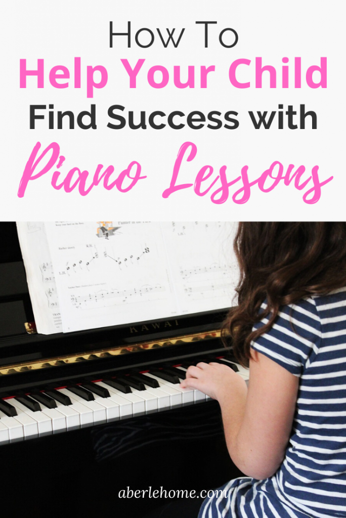 how to help your child find success with piano lessons Pinterest image