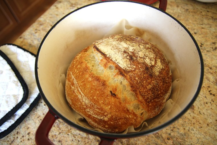 sourdough bread in Dutch oven