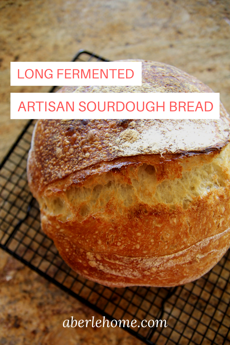 long-fermented artisan sourdough bread Pinterest image