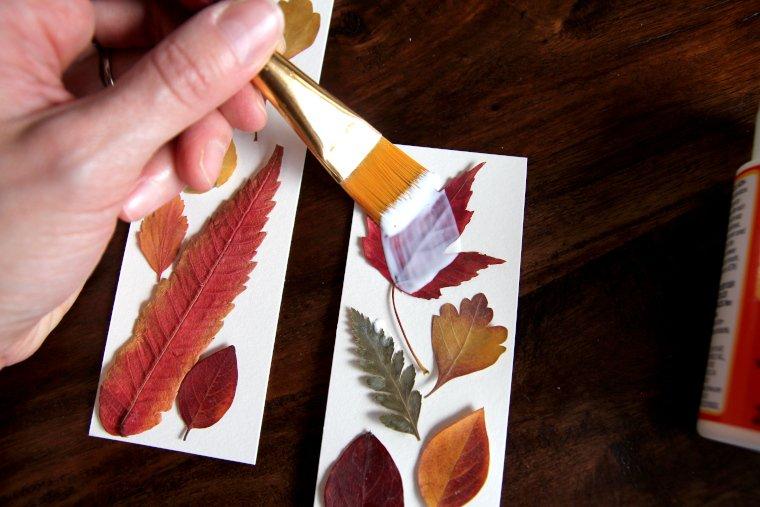 apply Mod Podge over surface of each leaf