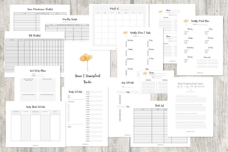 free home and homeschool planning pages