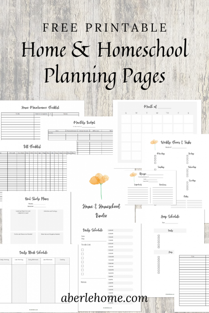 free printable home and homeschool planning pages pinterest image