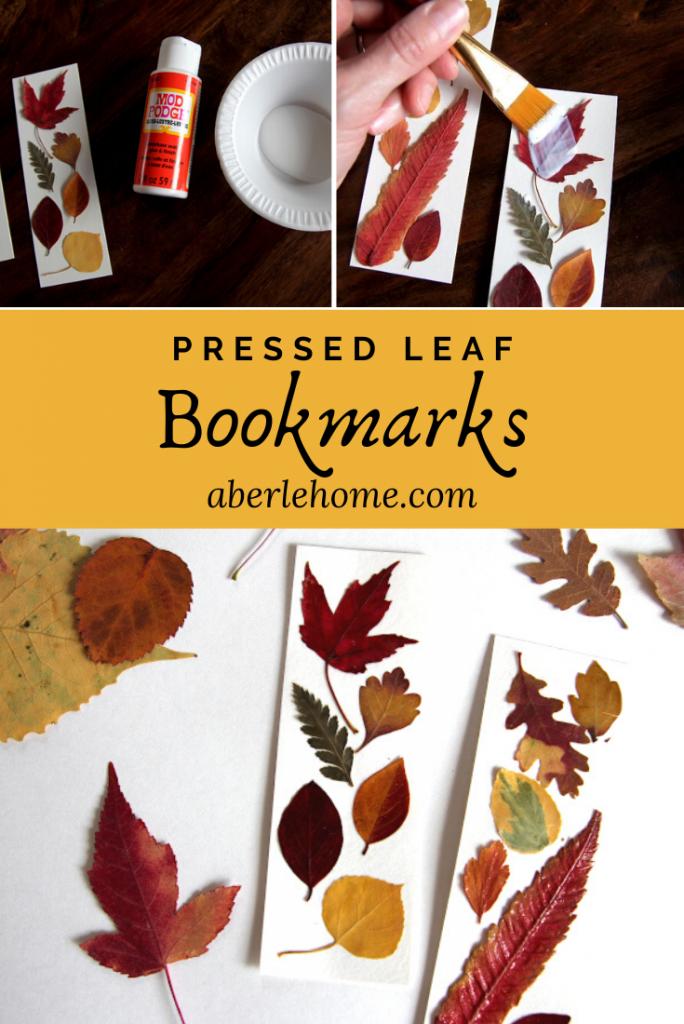pressed leaf bookmarks for fall Pinterest image