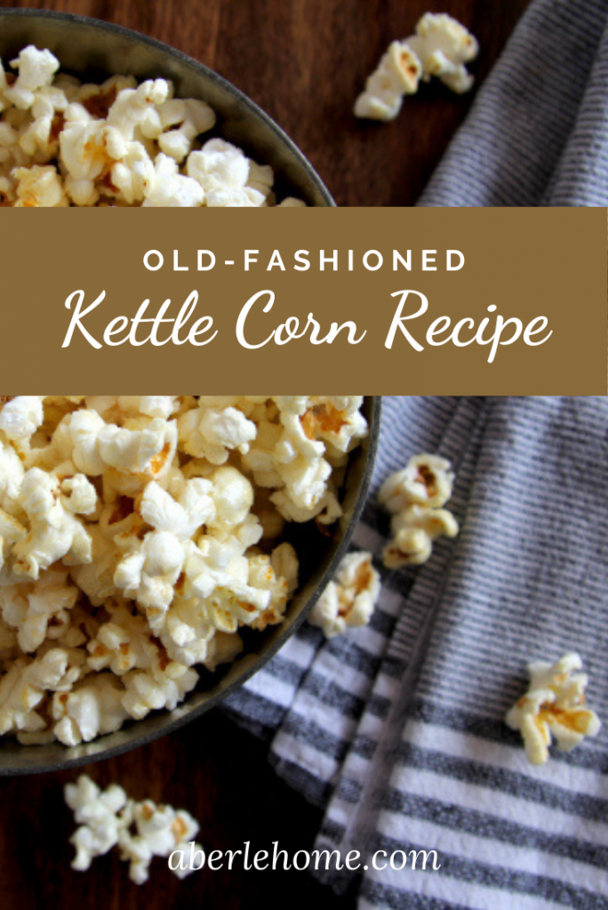 old-fashioned kettle corn recipe pin image