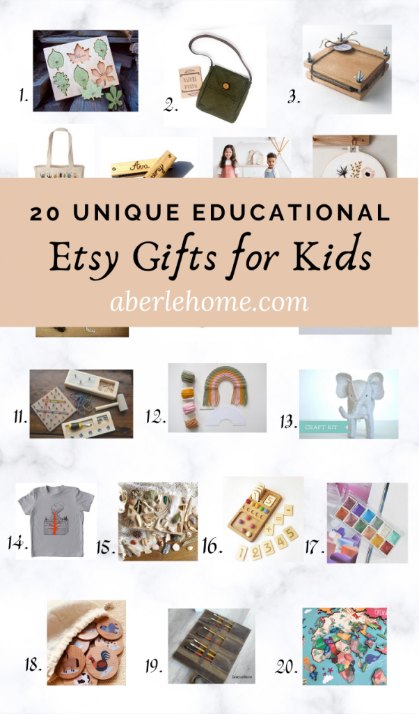 Unique Educational Etsy Gifts for Kids Pinterest Image
