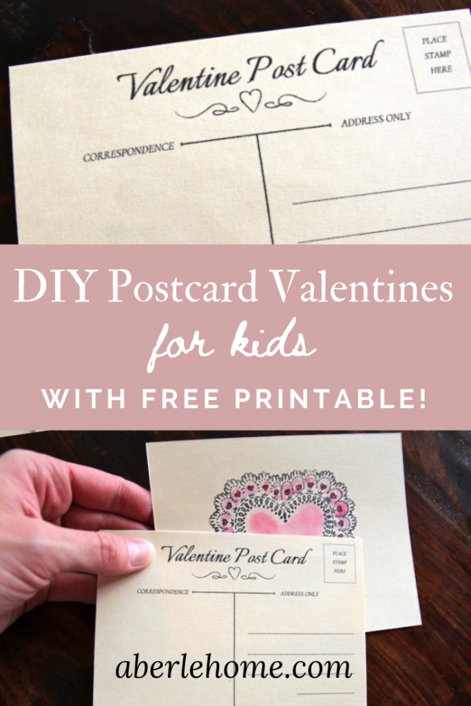 DIY Postcard Valentines for Kids with Free Printable Pinterest image