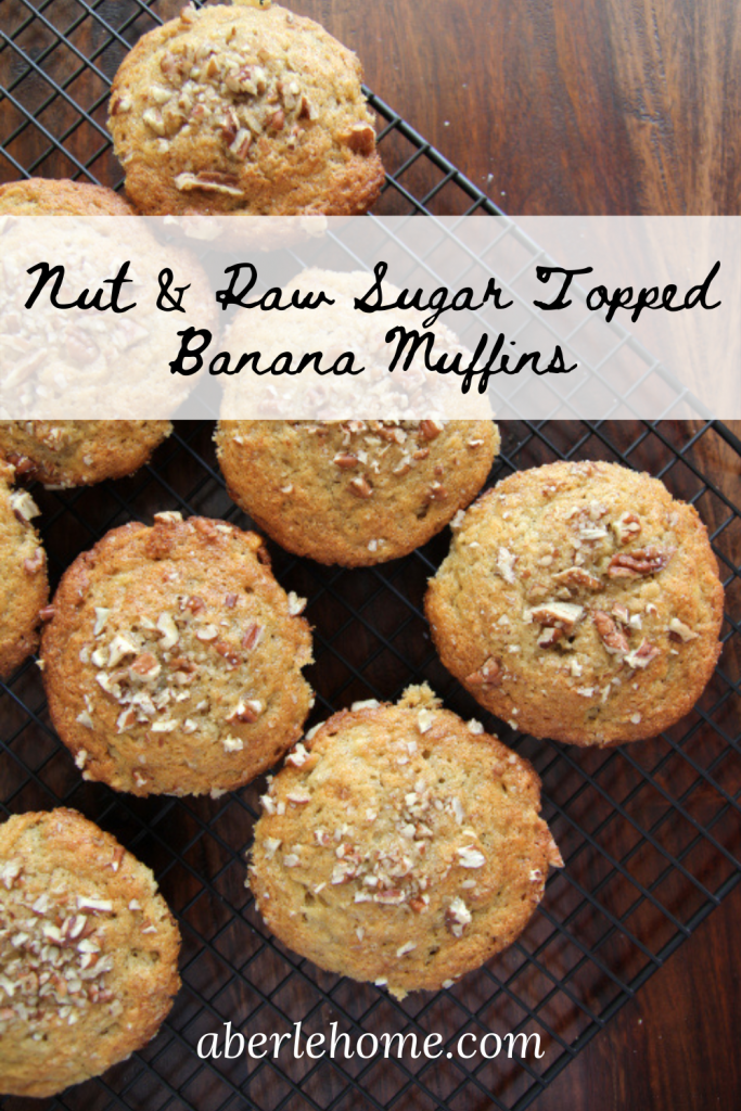 nut and raw sugar topped banana muffins pinterest image