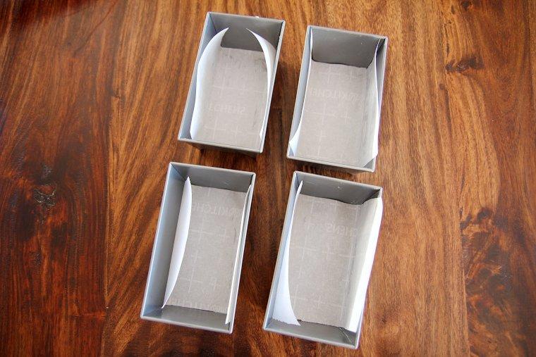line mini loaf pans with parchment paper