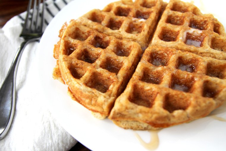 multigrain waffle with syrup close up