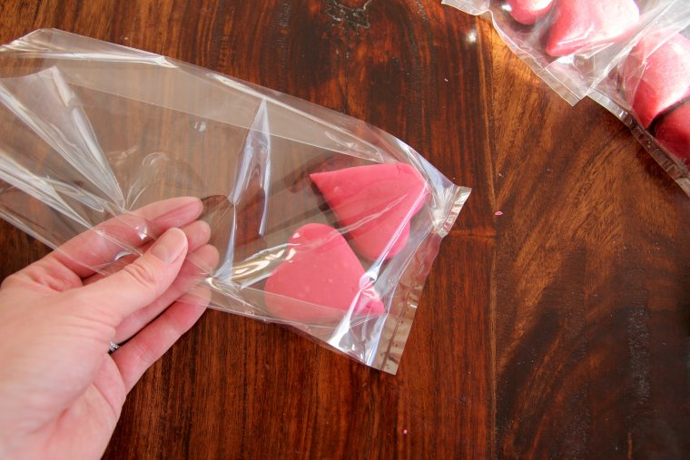 place playdough in clear treat bag
