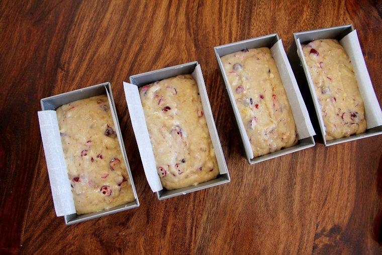 fill prepared loaf pans