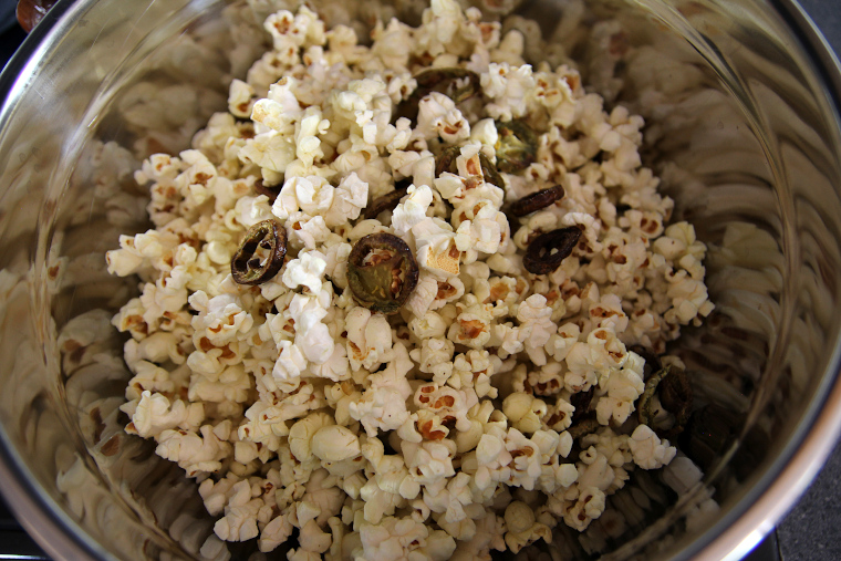 jalapeno flavored popcorn in a large bowl