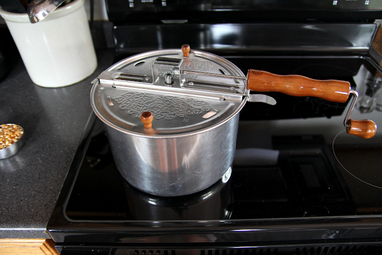 Whirley Pop Popcorn Popper on the stove