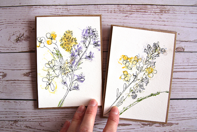 easy nature craft: hammered flower greeting cards