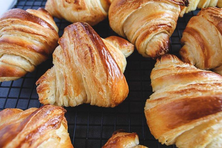 sourdough croissants cooling after baking