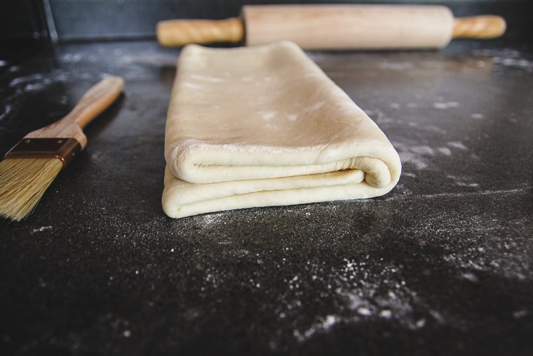 side view of the dough after the book fold