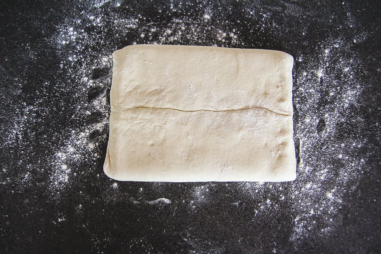 Turning the dough so the seam is facing me
