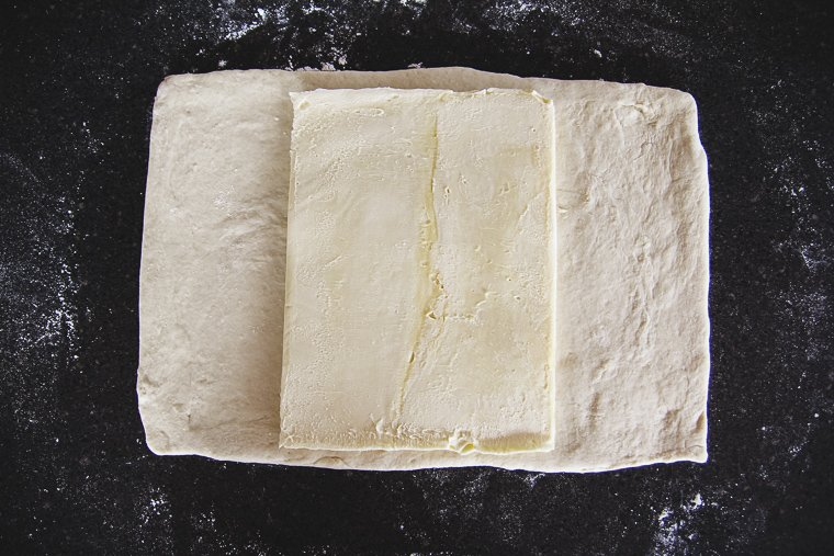dough after rolling with butter block in the center