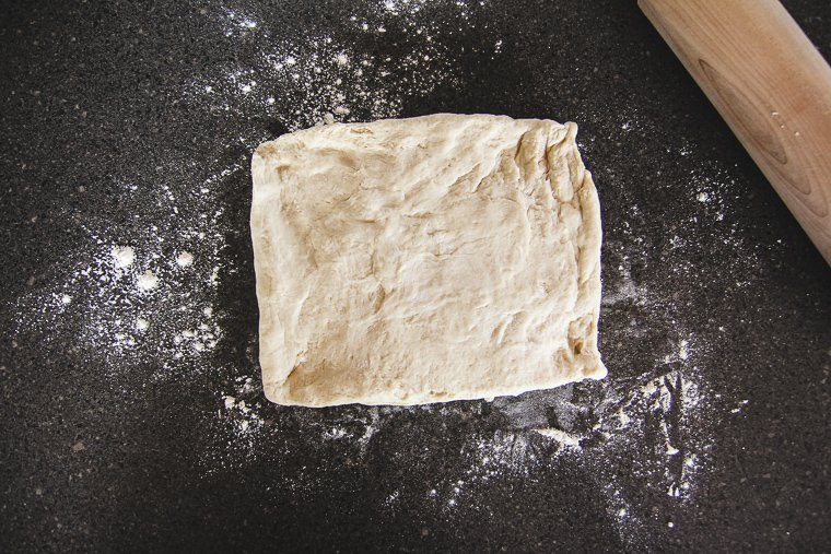 forming the chilled dough into a rectangle