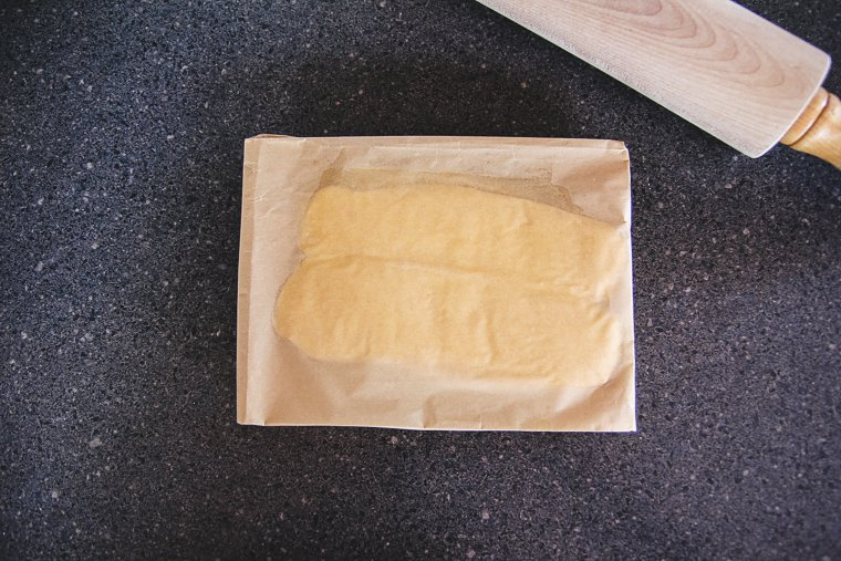 the parchment paper butter package after flipping it over on the countertop