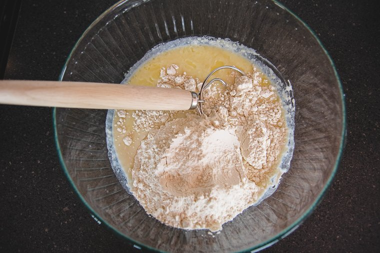 croissant dough ingredients in a glass bowl
