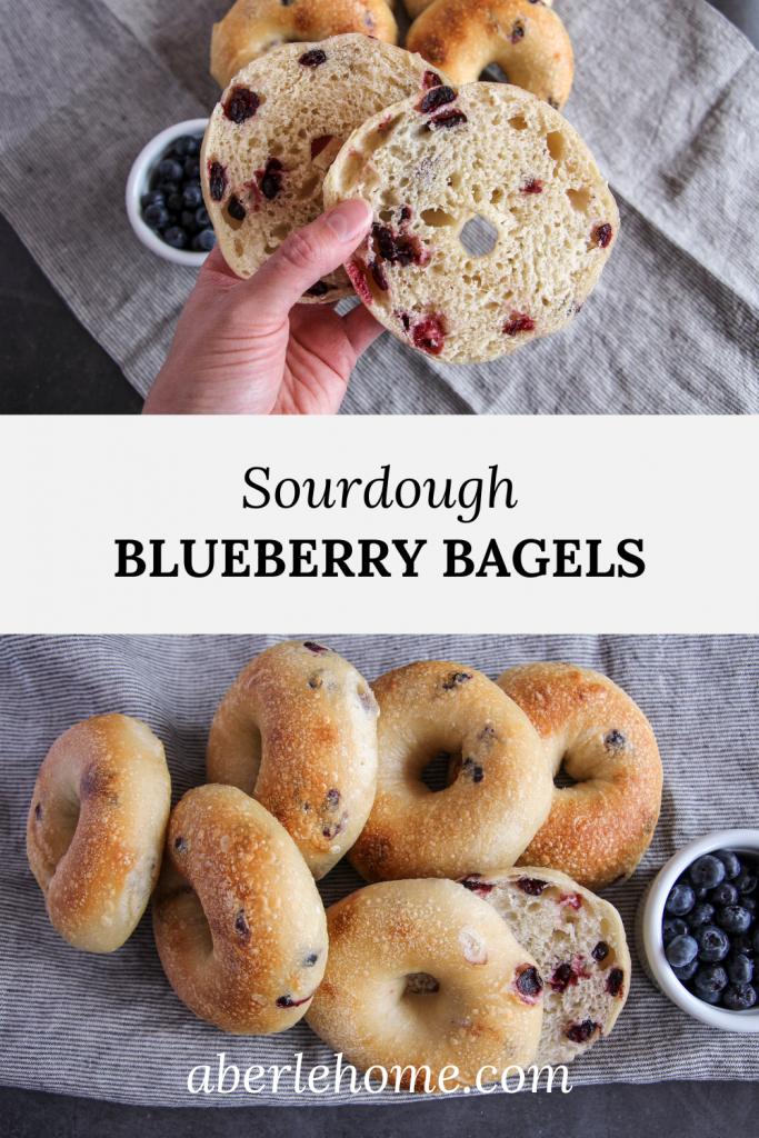 sourdough blueberry bagels Pinterest image