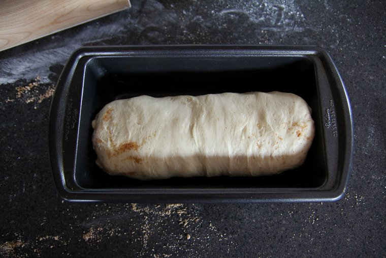 unbaked loaf after placing seam-side down in a loaf pan