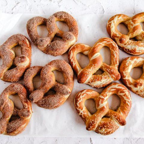 sourdough soft pretzels on white parchment paper