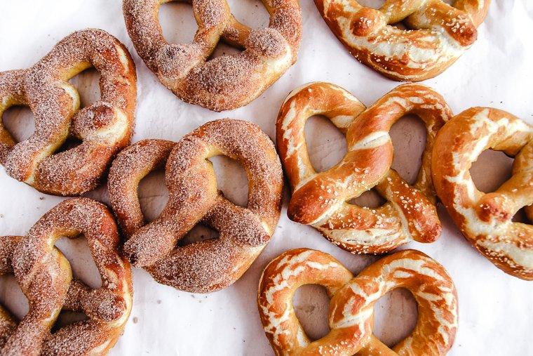 cinnamon sugar and salted sourdough soft pretzels