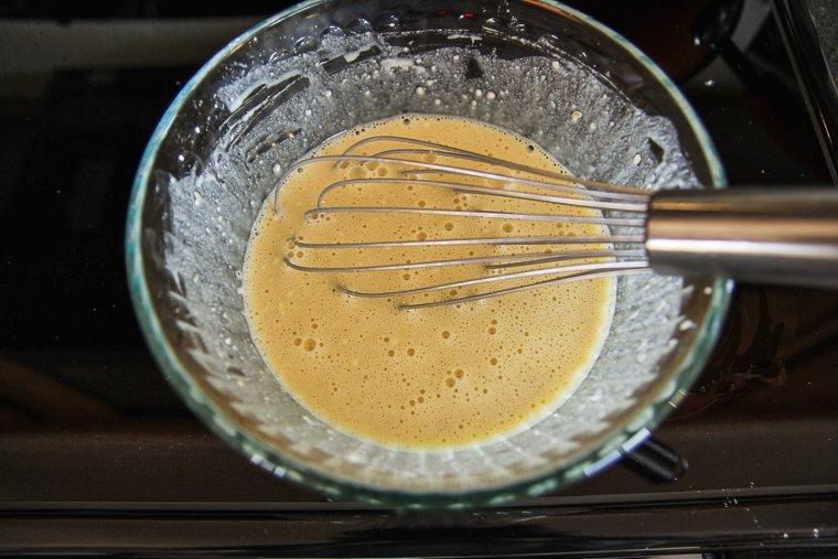 whisking the puff pancake batter